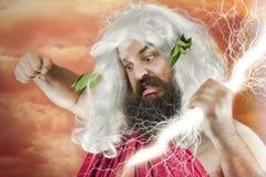 Wrath of God. Angry yelling wrath of god against orange background Royalty Free Stock Image