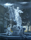 Wrath of Neptune. Neptune statue in the square. Art Oil Royalty Free Stock Photography