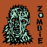 Wrath of the zombie. Vector illustration. Scary monster face Royalty Free Stock Photos