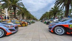 WRC汽车在萨洛角,西班牙 库存照片