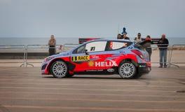 WRC汽车在萨洛角,西班牙 库存图片