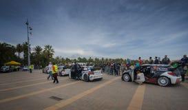 WRC汽车在萨洛角,西班牙 免版税库存照片