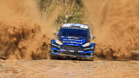 WRC blue front ford splash Stock Photos