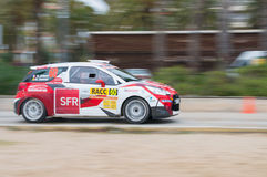 WRC car of the driver Quentin Gilbert and his co-driver Renaud Jamoul in Salou, Spain Stock Photos