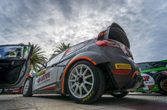 WRC Car From Rally RACC Salou, Spain. WRC car of the driver Robert Kubica and his co-driver Maciek Szczepaniak , race in the 51th Rally RACC Rally of Spain stock photo