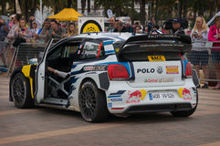 WRC Car From Rally RACC Salou, Spain. WRC car of the Team Volkswagen Polo R, with driver Sebastien Ogier and his co-driver Julien Ingrassia Stage from the 51th Stock Image
