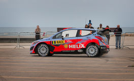 WRC Car in Salou , Spain. Spanish driver Dani Sordo and his codriver Marc Marti in a Hyundai i20 WRC race in 51th Rally of Spain stock image