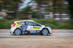 WRC car of the Team Ford Fiesta RS in Salou , Spain. Turán Frigyes and his co-driver Zsiros Gábor in Ford Fiesta RS, stage from the 51th Rally of Spain royalty free stock photography