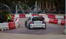 WRC car of the Team Volkswagen Polo R in Salou , Spain. WRC car of the Team Volkswagen Polo R, with driver Andreas Mikkelsen and his co-driver Ola Fløene Stage Stock Images