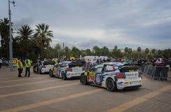 WRC cars of the Team Volkswagen Polo R in Salou , Spain. WRC cars of the Team Volkswagen Polo R, with drivers Sébastien Ogier , Jari-Matti Latvala, Andreas Stock Image