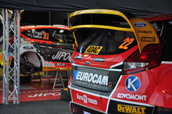 WRC Germany 2015 - Cars of Prokop and Melincharek  - Service. A look at the service of Martin Prokop and Jaroslav Mélincharek's cars Royalty Free Stock Photos