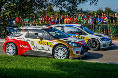 WRC Salou Catalunya. World Rally Championship in Catalunya - Spain 2013 location - Salou. The cars of the drivers Jari-Matti Latvala with the VW Polo R WRC and royalty free stock images