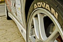 WRC sport wheels. The WRC sport wheels - Sopot racing Stock Images