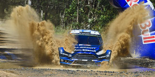 WRC 2014 Sun 02 Ford Splash front Royalty Free Stock Photos