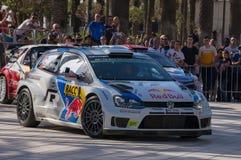 WRC-världen samlar mästerskapbilen i Salou, Spanien Arkivbilder