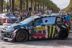 WRC World Rally Championship Car in Salou , Spain. WRC car of the driver Ken Block and his codriver Alex Gelsomino in Salou, stage from Rally Catalunya 2014 royalty free stock photos