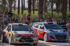 WRC World Rally Championship Cars in Salou , Spain. WRC car on the right, Hyundai I20 of the driver Dani Sordo with his co-driver Marc Marti and the car on the Stock Image