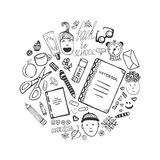 Wręcza patroszoną kolekcję z szkolnymi materiały i dzieci ikonami Wektorowy biurowy ustawiający w doodle stylu tylna szkoły Obrazy Royalty Free
