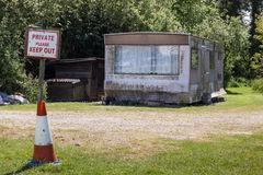 Wreaked and rotten caravan in Thorpeness Royalty Free Stock Images