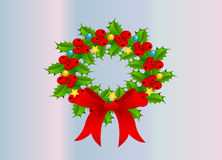 Wreath. Beautiful Wreath with adorns ribbon and balls Royalty Free Stock Image