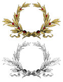 Wreath. With gold leafs red berries royalty free illustration