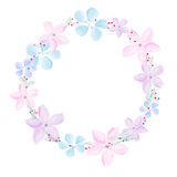 Wreath of abstract watercolor flowers on white background Royalty Free Stock Photography