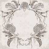 Wreath with antler, feather, arrow, flower, leaf and branch in boho style. Royalty Free Stock Photo