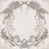 Wreath with antler, feather, arrow, flower, leaf and branch in boho style. Stock Image