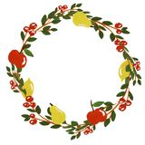 Wreath with apples and pears vector illustration