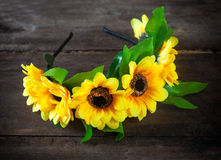 Wreath of artificial flowers Stock Photo