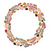 Wreath of autumn branches and leaves stock illustration