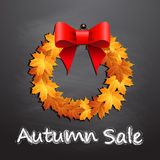 Wreath with autumn leaf and autumn sale. Stock Images