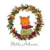 Wreath of autumn leaves. cute cartoon cat. Royalty Free Stock Photo