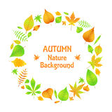 A wreath of autumn leaves in EPS 10.  stock illustration