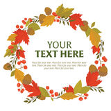 Wreath of autumn leaves. Wreath of autumn flora with space for text Stock Image