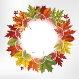 Wreath of autumn leaves, hand-drawing. Vector illu Stock Photo