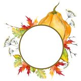 Wreath of autumn leaves. Maple, oak and pumpkin. Watercolor. Isolated on white background. vector illustration