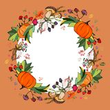 Wreath of autumn leaves. Prints of leaves of different colors.Stylish autumn wreath of leaves, mushrooms, berries, pumpkins. royalty free illustration