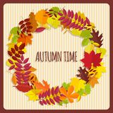 Wreath from autumn leaves Stock Photo