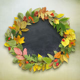 Wreath of autumn leaves on wooden background. Autumn background Royalty Free Stock Photography