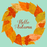 Wreath of autunm foliage in bright colors Royalty Free Stock Photography