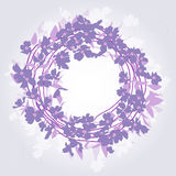Wreath background. Illustrations lavender wreath with leaves Stock Image