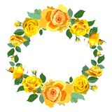 Wreath Background with Yellow Roses. Royalty Free Stock Images