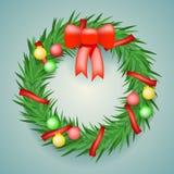 Wreath Balls Ribbons Christmas Decoration  Vector Stock Photography