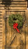 Wreath on Barn Door Stock Photos