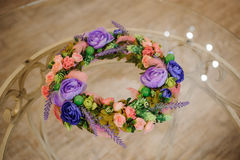 Wreath of beautiful summer flowers Royalty Free Stock Image