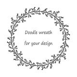 Wreath with black silhouettes of doodle flowers and berries. Floral frame for your design with place for your text.Decoration for greeting card,wedding vector illustration