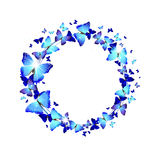 Wreath of Blue Butterflies. On a white background stock illustration