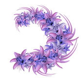 Wreath of blue-pink lilies on a white background. Illustration of summer flowers in watercolor style. Nature Stock Images