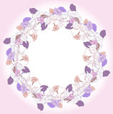 Wreath with blue violet bindweed Stock Photo